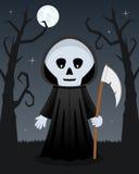 Arbres effrayants de Halloween avec la faucheuse Images stock