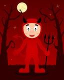 Arbres effrayants de Halloween avec le diable rouge Image libre de droits