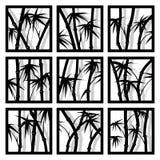 Arbres en bambou encadrés par icônes carrées abstraites Photos stock