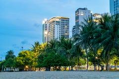 Arbres et bâtiments tropicaux des hôtels sur la plage dans le crépuscule avec des lumières images stock