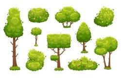 Arbres et buissons de bande dessinée Plantes vertes avec des fleurs pour le paysage de végétation Vecteur de buisson d'arbre fore illustration libre de droits