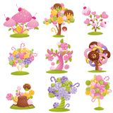 Arbres et buissons fabuleux réglés avec des chocolats, des sucreries et des butées toriques sur les branches Illustration de vect illustration stock