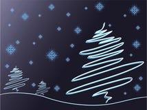 Arbres et flocons de neige Photographie stock