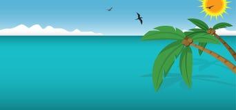 Arbres et océan de noix de coco illustration stock