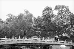 Arbres et passerelle en pierre dans la neige images stock