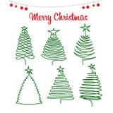Arbres et pins de Noël dans le style de griffonnage Photo stock