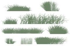 arbres et silhouettes d'herbe illustration stock