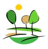 Arbres et soleil, illustration de vecteur de source d'isolement Photo libre de droits