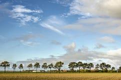 Arbres, fermes, champs et un ciel spectaculaire images stock