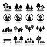 Arbres, forêt, icônes de parc réglées Photographie stock