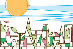 Arbres géométriques colorés dans une lumière du jour de forêt Image stock