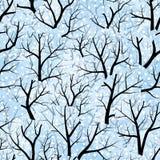 Arbres. L'hiver (papier peint sans joint de vecteur) Photographie stock libre de droits
