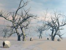 Arbres morts dans le désert - 3D rendent Images stock