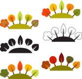 Arbres multicolores d'automne, vecteurs d'arbres Photographie stock
