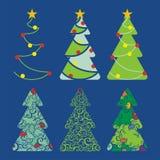 arbres réglés de 1 Noël Photos libres de droits