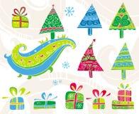arbres réglés de Noël Photo libre de droits