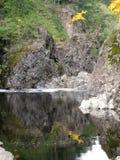 Arbres reflétés en rivière canadienne en automne images stock
