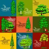 Arbres sauvages de vert forêt, végétaux et animaux Arbres réglés de vecteur de bande dessinée en parc extérieur Arbres extérieurs Photographie stock libre de droits