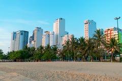Arbres tropicaux sur la plage et gratte-ciel grands sous la lumi?re du soleil de matin en heure d'or images libres de droits