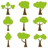 Arbres, un ensemble d'arbres de bande dessinée illustration de vecteur