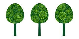 Arbres verts floraux réglés illustration stock