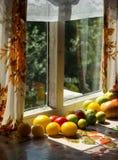 Arbres verts vus par la vieille fenêtre mensonge de tomates près d'une fenêtre Photos stock