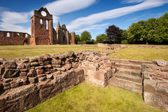 Arbroath Abbey, Angus, Scotland. Arbroath Abbey in Angus, Scotland is a red sandstone ruin founded in 1178 by King William the Lion and most famous as the place Royalty Free Stock Image