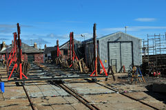 Arbroath boat building yard. Arbroath Harbour, Arbroath, Angus, Scotland, UK. On Arbroath Harbour Stock Photography