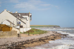 Arbroath seashore. This is the north oriental coast of Scotland. This is Arbroath seashore with beach and house in front of the North Sea Stock Photography