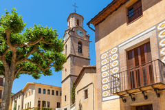 Arbucies. View of the Placa de la Vila (Town Square) of Arbucies, located in the Montseny Natural Park, Catalonia, Spain Stock Photography