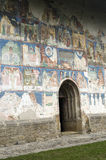 Arbure Church. The external painting from the Arbure Churh, built in 1502 in the northern Romania, Europe Stock Images