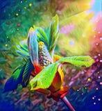 Arbustes de floraison au printemps sous le soleil de caresse illustration libre de droits