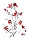 Arbusto artístico da flor ilustração do vetor