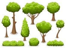 Arbusto dos desenhos animados e grupo da árvore ilustração do vetor