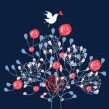 Arbusto ed uccello ornamentali Fotografia Stock Libera da Diritti