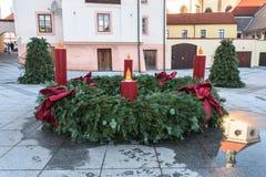Arbusto redondo con las lámparas en cuatro lados Fotos de archivo libres de regalías