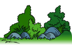 Arbustos com rochas ilustração royalty free