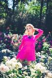 Arbustos cor-de-rosa brancos próximo de florescência da jovem mulher Foto de Stock Royalty Free