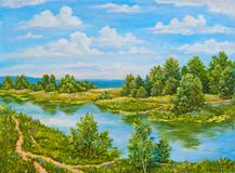 Arbustos verdes cerca del río en día soleado Árboles del paisaje, hierba verde en la orilla de un río Pintura al óleo original en imagenes de archivo