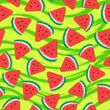 Arbuzów kawałki Bezszwowy deseniowy fruity Wektorowa ilustracja na zieleni pasiastej teksturze obrazy stock