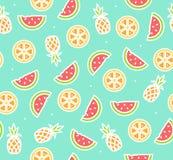 Arbuz, ananas i Pomarańczowy Tropikalnej owoc tła wzór, wektor Zdjęcia Stock