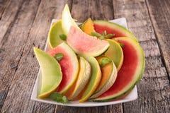 Arbuz i melon obrazy stock