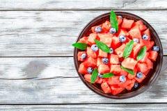 Arbuz, kiwi owoc i czarne jagody, odgórny widok, horyzontalny Fotografia Stock