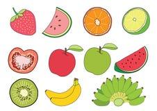 Arbuz Pomarańczowa cytryna Pomidorowy Jabłczany czerwony Apple - zielona kiwi truskawka i banan owoc na białym tło ilustracji wek ilustracji