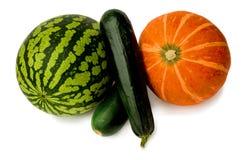 Arbuz, zucchini i bania na bielu, zdjęcie royalty free