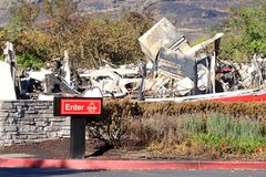 Arby`s Restaurant burned to the ground during recent fires in Northern California. Santa Rosa, CA - October 22, 2017: Arby`s restaurant in the Kohl`s parking lot stock photo