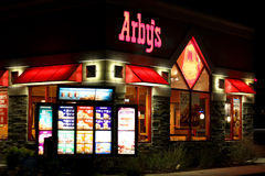 Arby's in Riverton, Utah. Image of the Arby's location in Riverton, Utah at night Royalty Free Stock Photography
