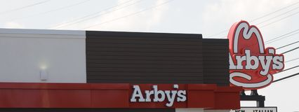 Arby's Roast Beef Sign. Arby's sandwich shops are known for slow roasted roast beef, turkey, and premium Angus beef sandwiches, sliced fresh every day Stock Photography