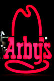 Arby's Sign. Image of the Arby's hat logo sign at night Stock Photography