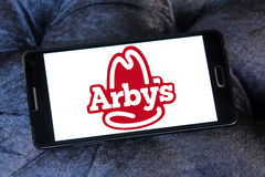 Arbys fast food logo. Logo of food franchise and restaurant arbys  on samsung mobile phone a5 Stock Images